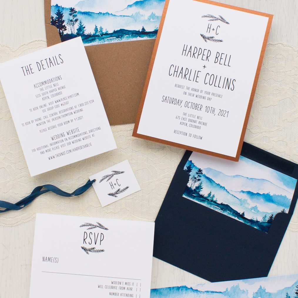 Blue Mountain Wedding Invitations