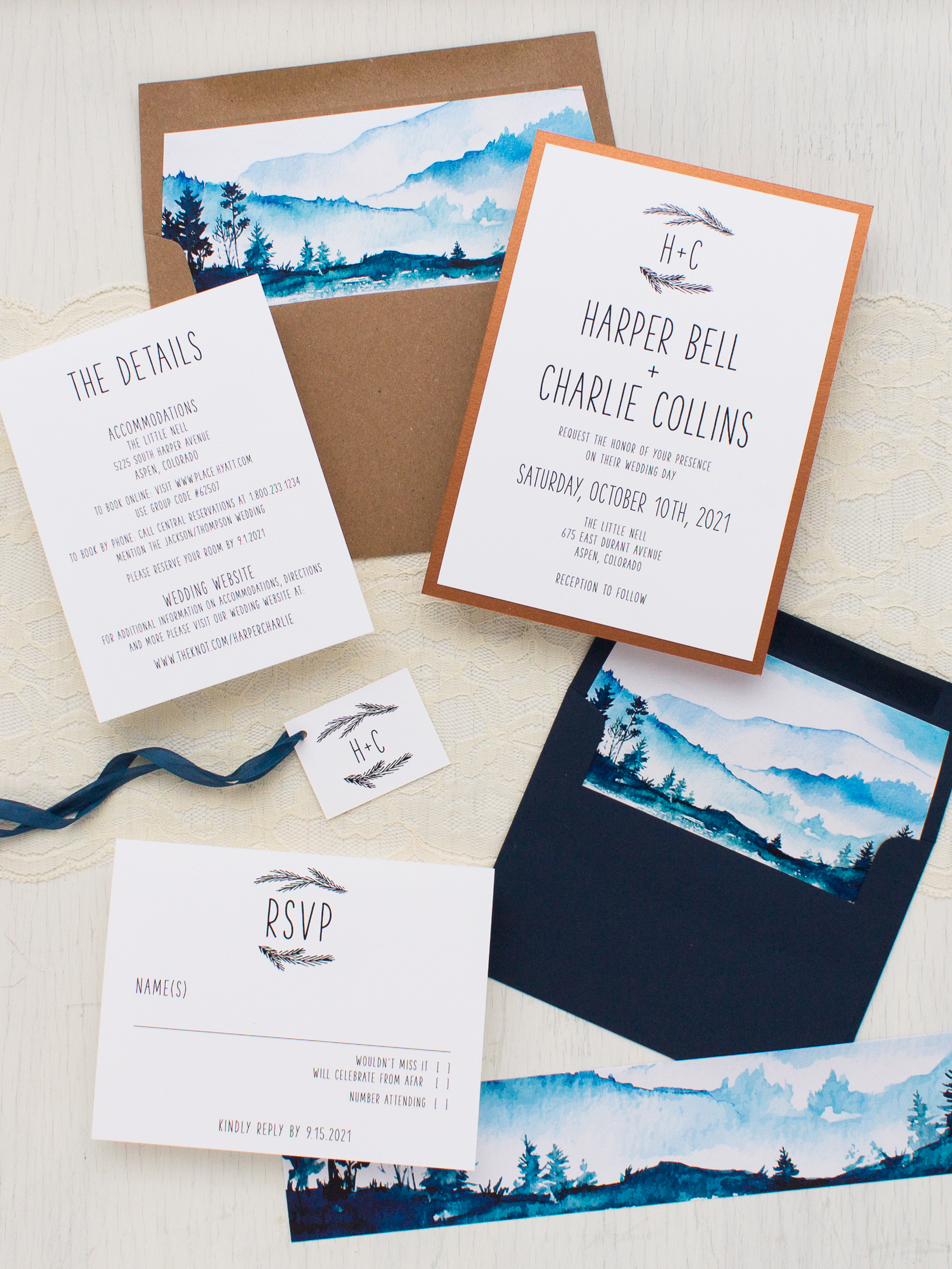 Blue Mountain Wedding Invitations