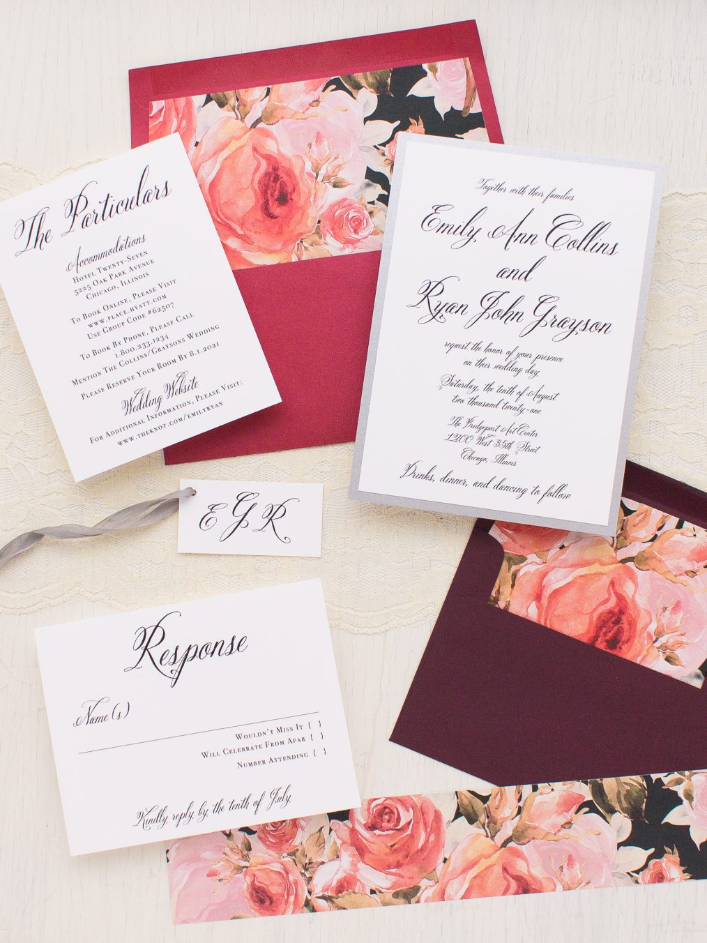 Crimson & Burgundy Floral Wedding Invitations