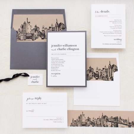 City Skyline New York City, Brooklyn Bridge, Chicago, Los Angeles or Washington DC Wedding Invitations