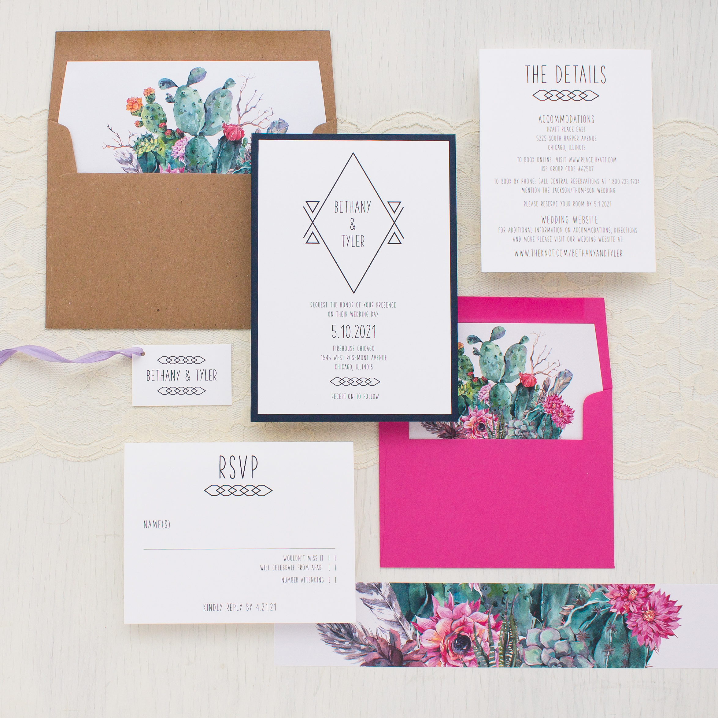 Desert Blooms #2 Wedding Invitations