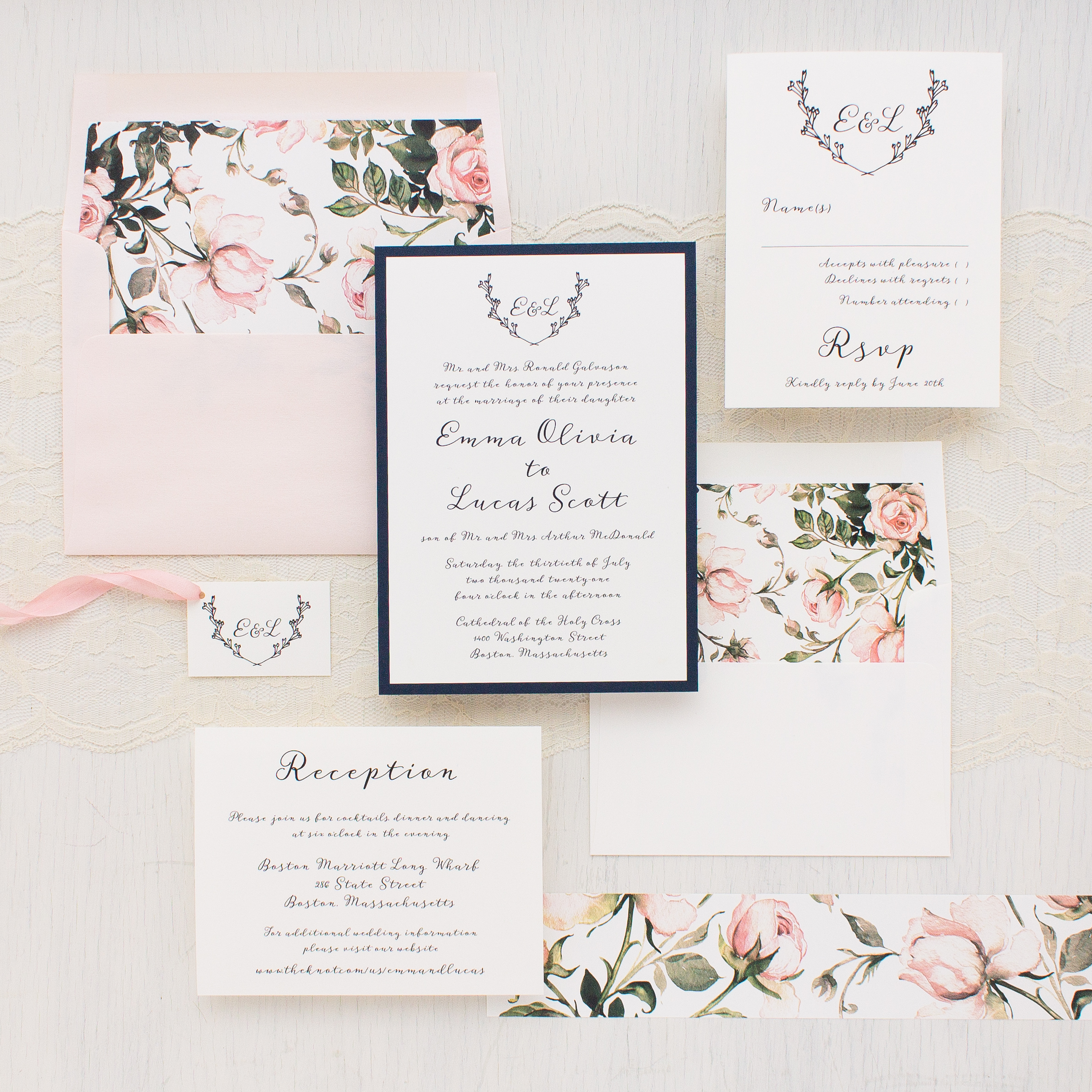 Garden Roses Wedding Invitations | Beacon Lane