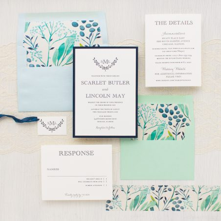 Navy Botanicals Wedding Invitations