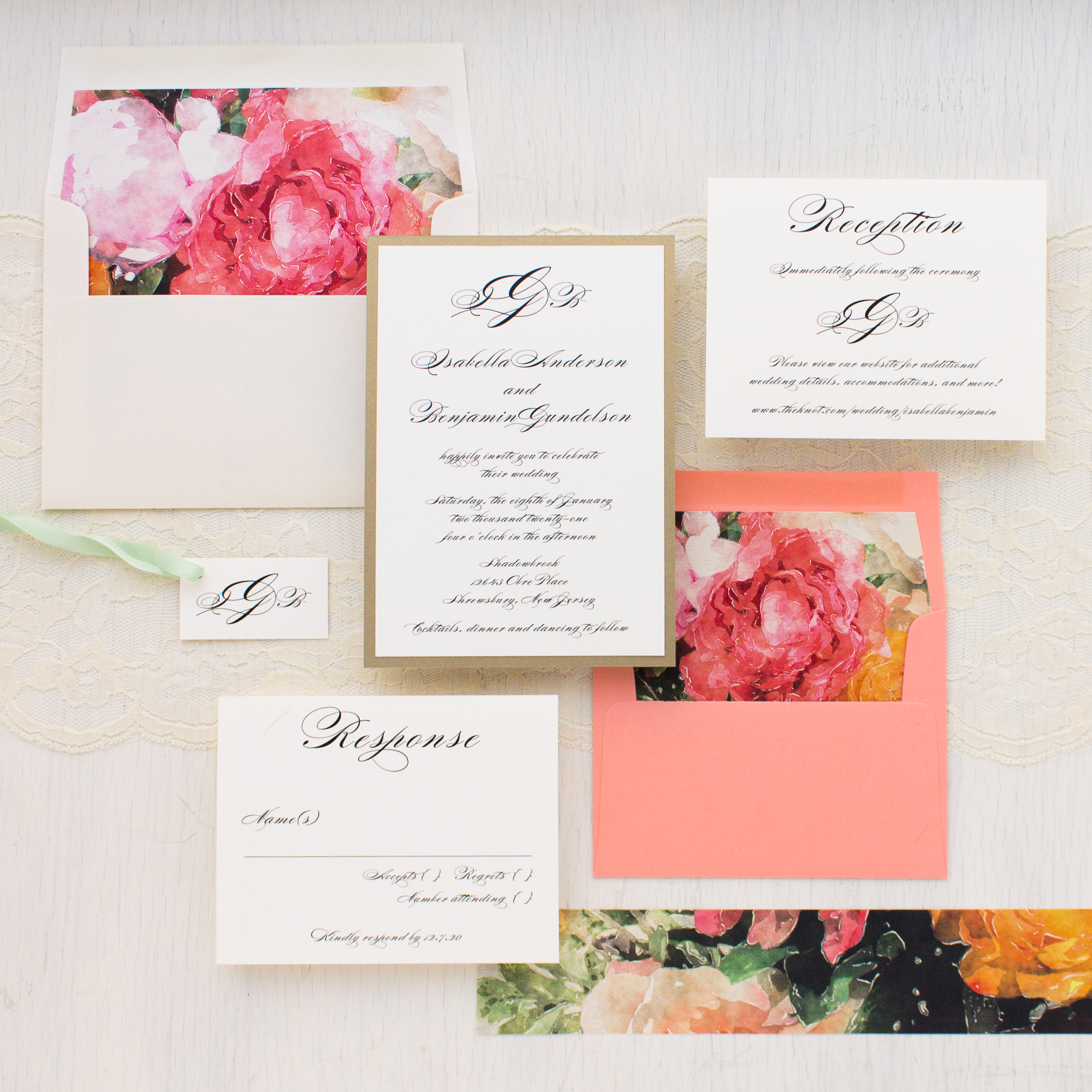 Pink Petals Wedding Invitations | Beacon Lane