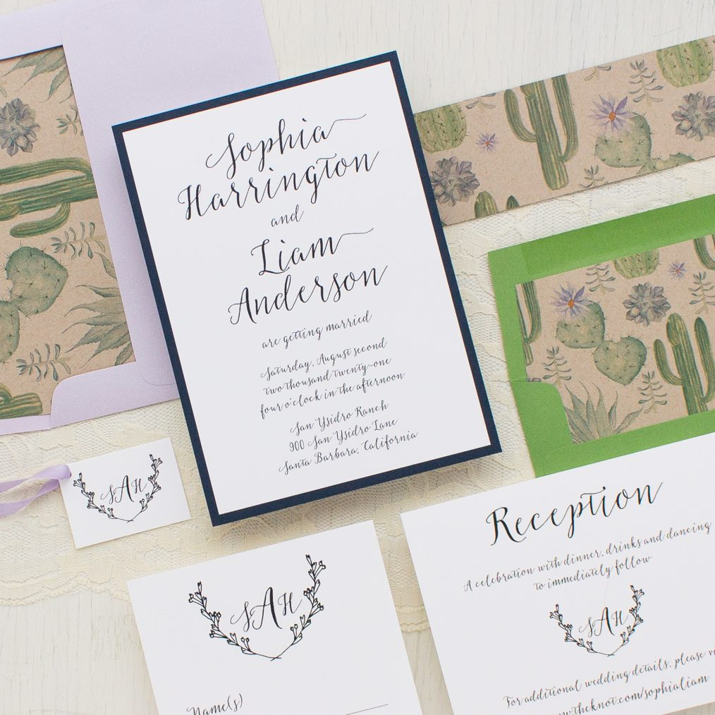 Sage Cactus Wedding Invitations