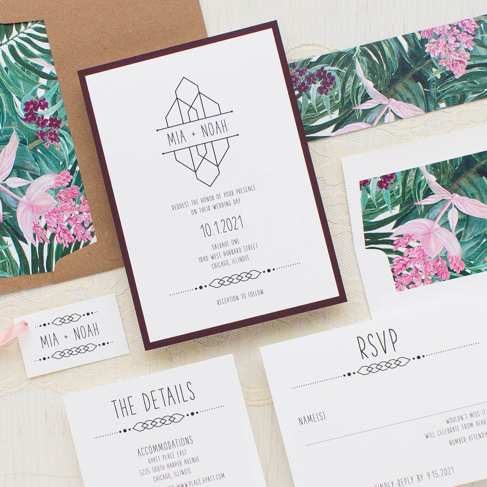 Tropical forest wedding invitations beacon lane for Tropical wedding invitations