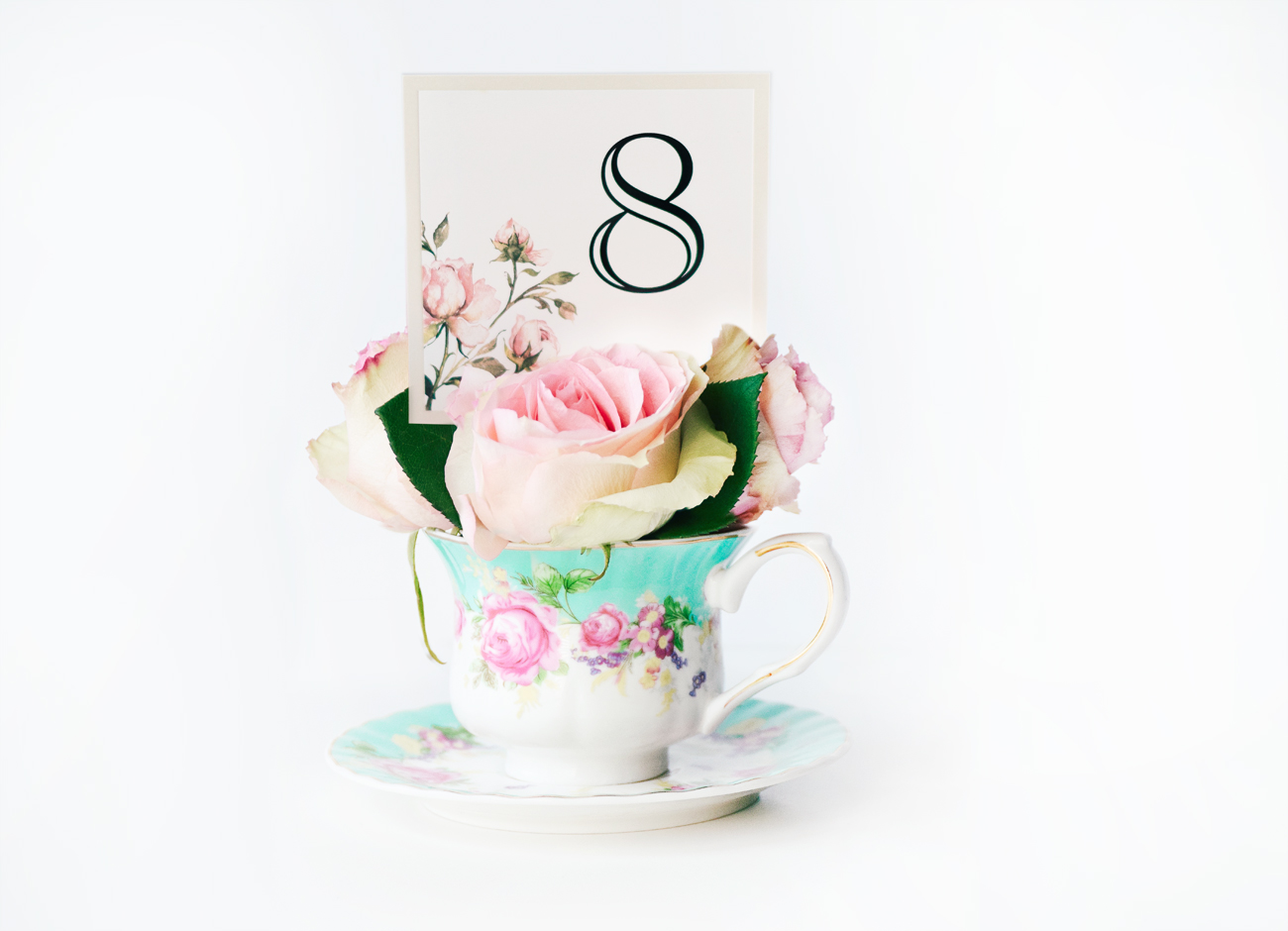 DIY rose teacup bridal bouquets