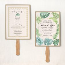 Tropical Green Ceremony Fans