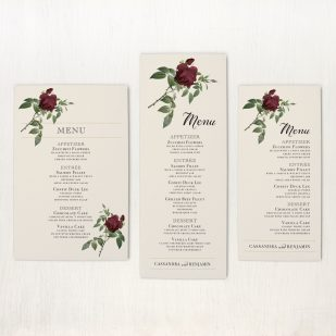 Ivory & Burgundy Flat Menu Cards