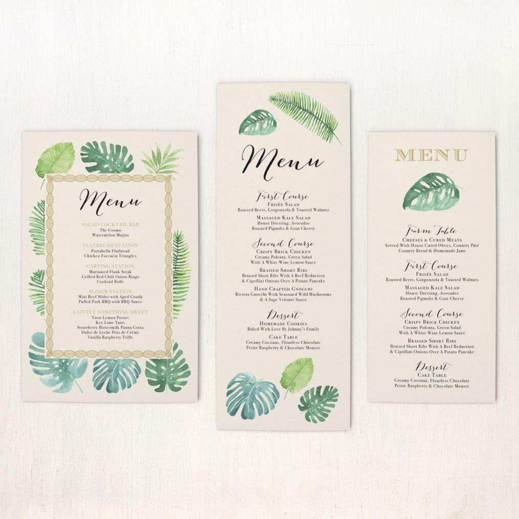 Tropical Green Flat Menu Cards