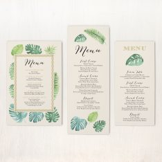 Tropical Green Flat Menu Cards