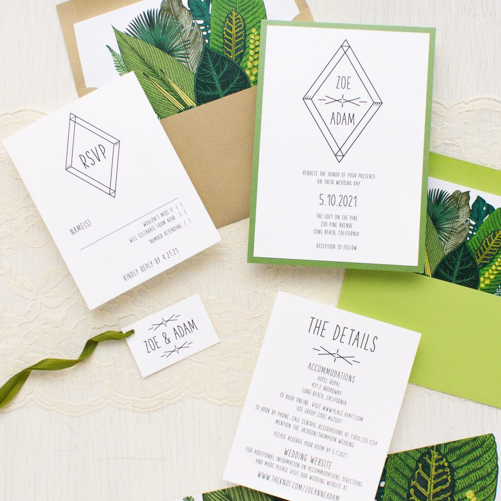 Green Leaf Wedding Invitations