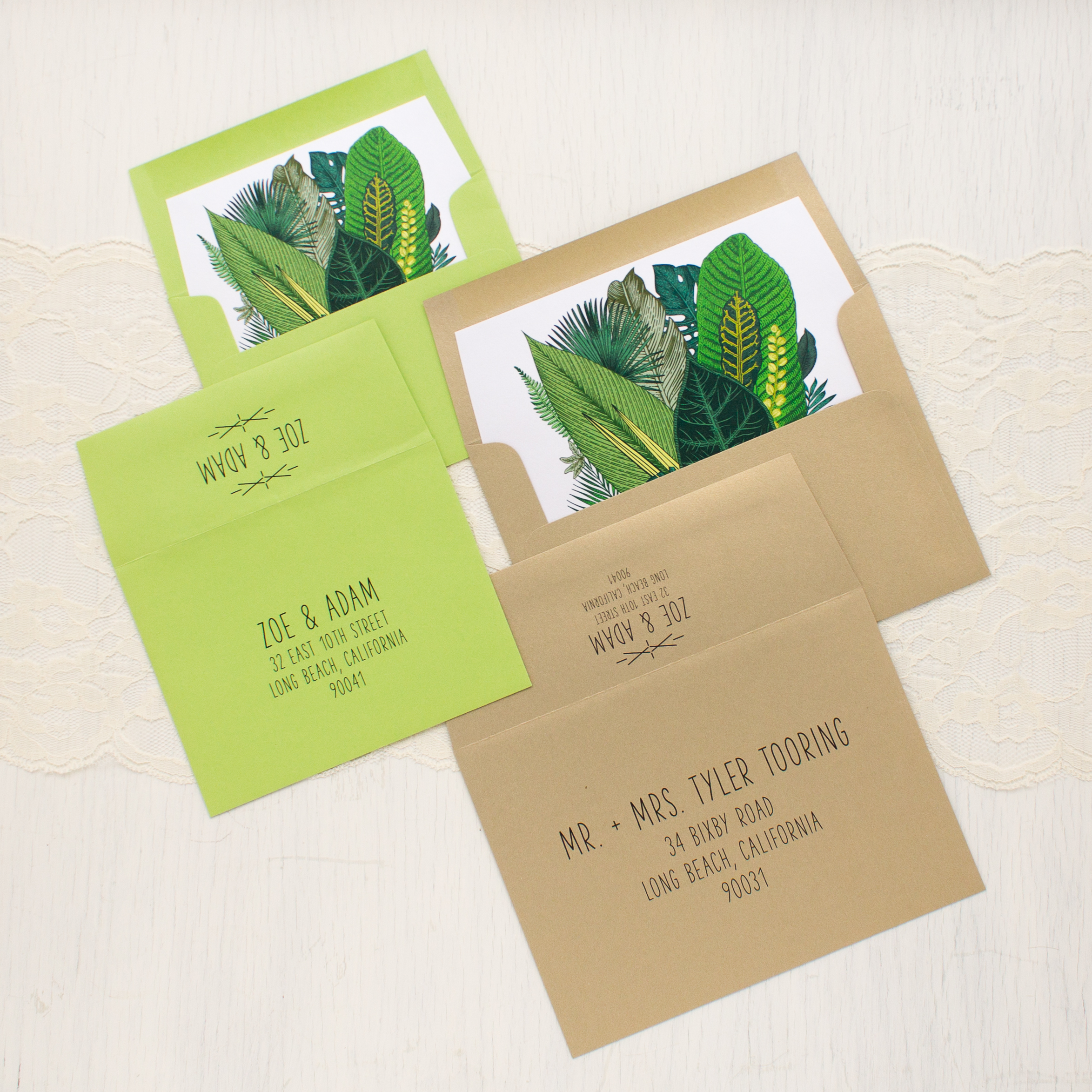 Green Leaf Gold Foil Wedding Invitations | Beacon Lane