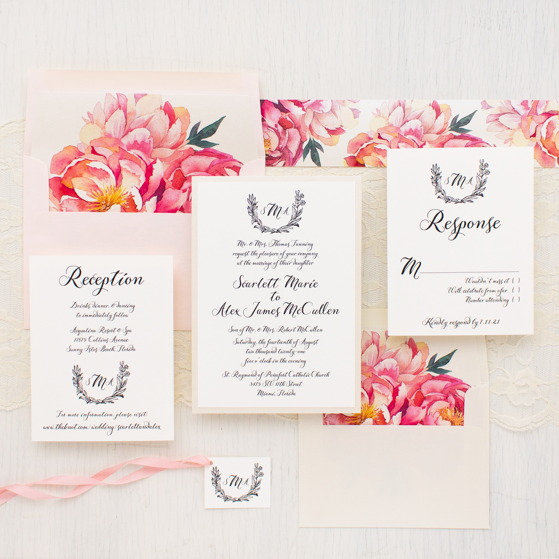 pink peonies wedding invitations beacon lane