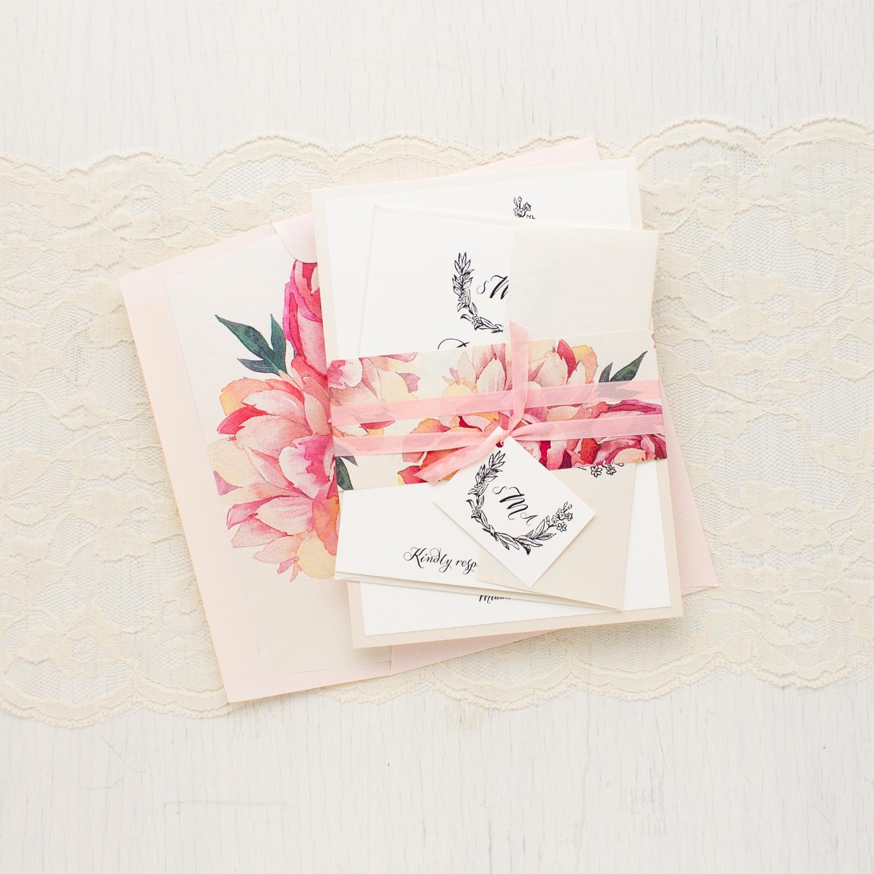Pink Peonies Wedding Invitations | Beacon Lane
