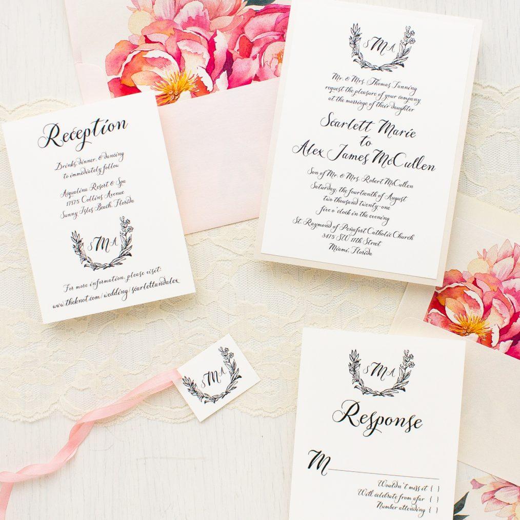 Pink Peonies Wedding Invitation