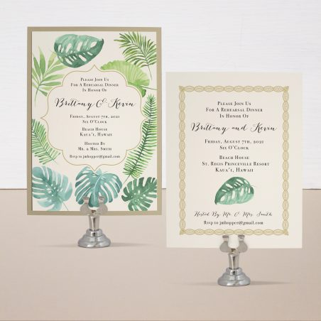 Tropical Green Rehearsal Invitations