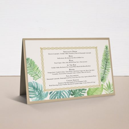 Tropical Green Tented Menu Cards