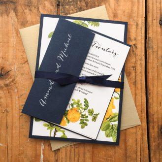Yellow Garden Rose Wedding Invitation by Beacon Lane