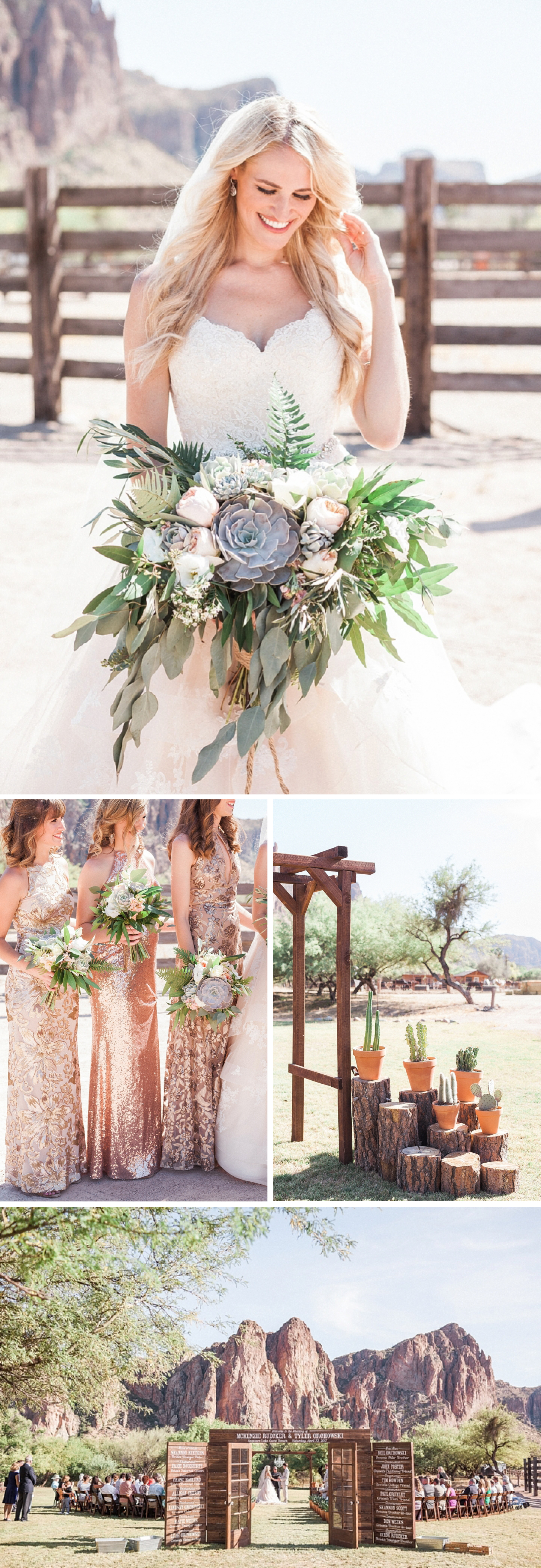 Tyler & McKenzie's Rose Gold Desert Mountain Wedding