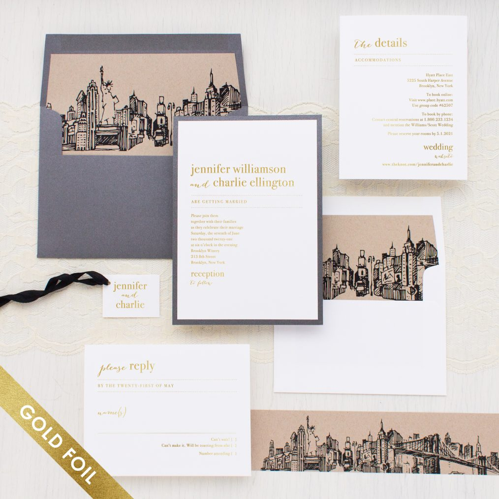 City Skyline Gold Foil Wedding Invitations