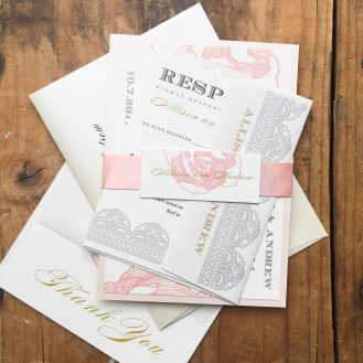 Ruffled Romance Custom Wedding Invitations by Beacon Lane