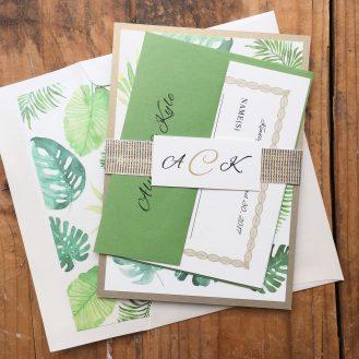 Tropical Green Custom Wedding Invitations by Beacon Lane