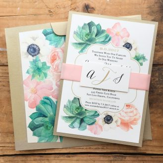 Blush Succulent Custom Wedding Invitation by Beacon Lane