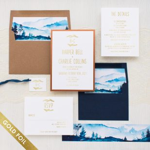 Gold Foil Blue Mountain Wedding Invitations