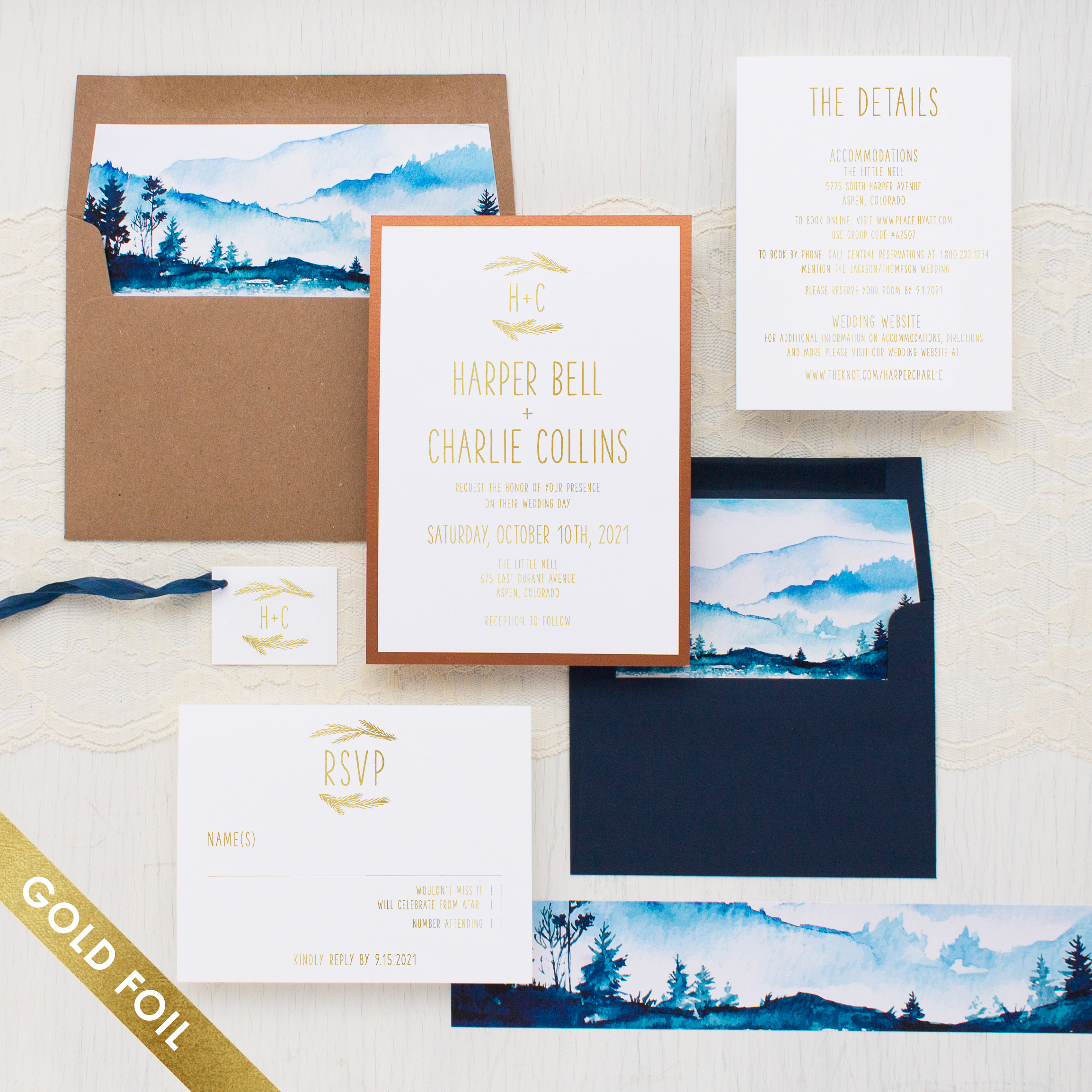 Blue Mountain Gold Foil Wedding Invitations: Blue And Gold Wedding Invitations At Websimilar.org