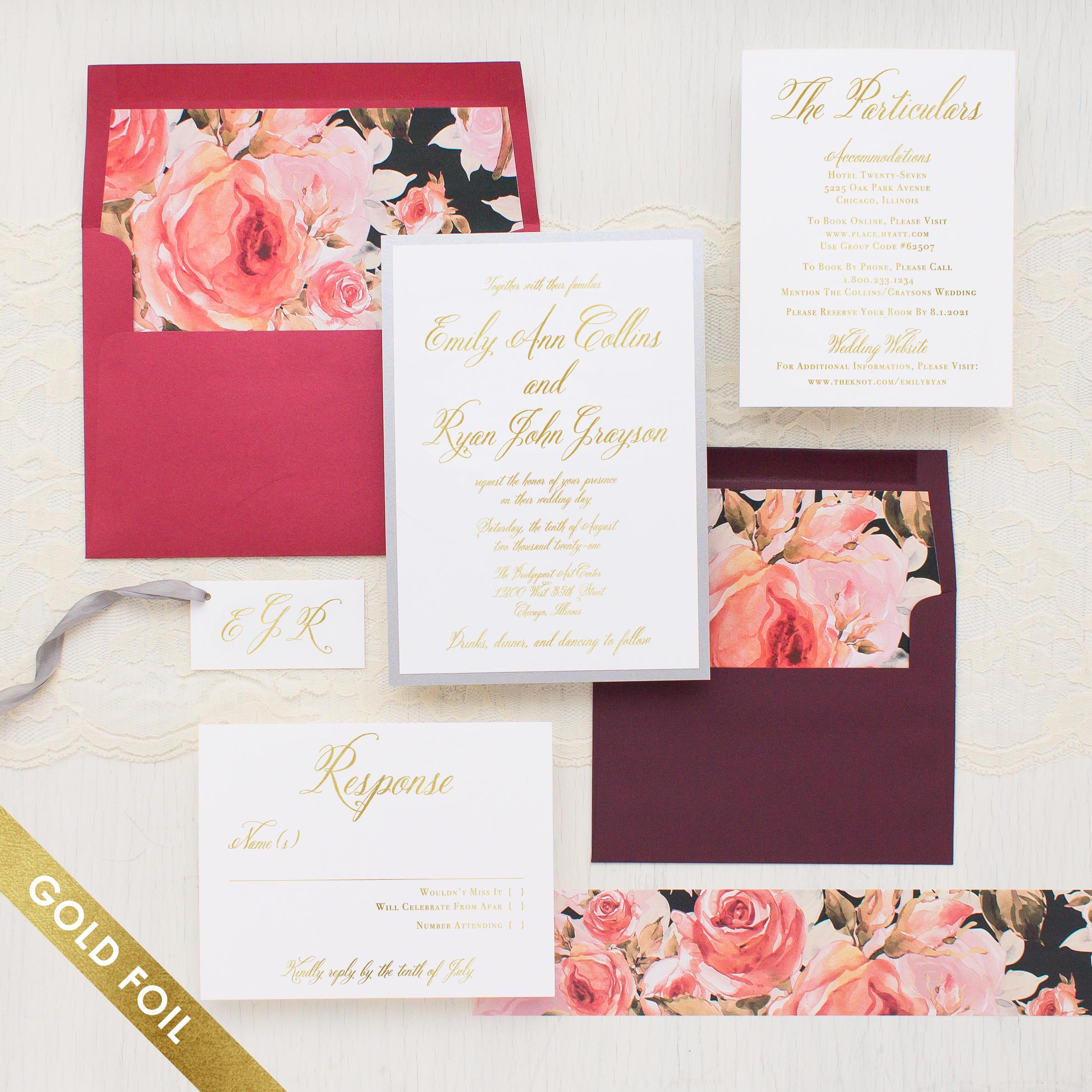 Blush Petals Gold Foil Wedding Invitations