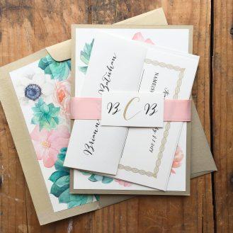Blush Succulent Custom Wedding Invitation by Beacon Lane