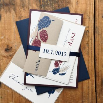 Hops Love Custom Wedding Invitation by Beacon Lane