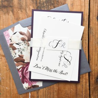 Simple Calligraphy Custom Wedding Invitations by Beacon Lane