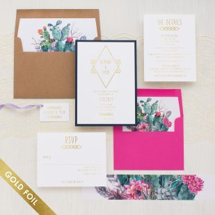 Gold Foil Desert Blooms #2 Wedding Invitations