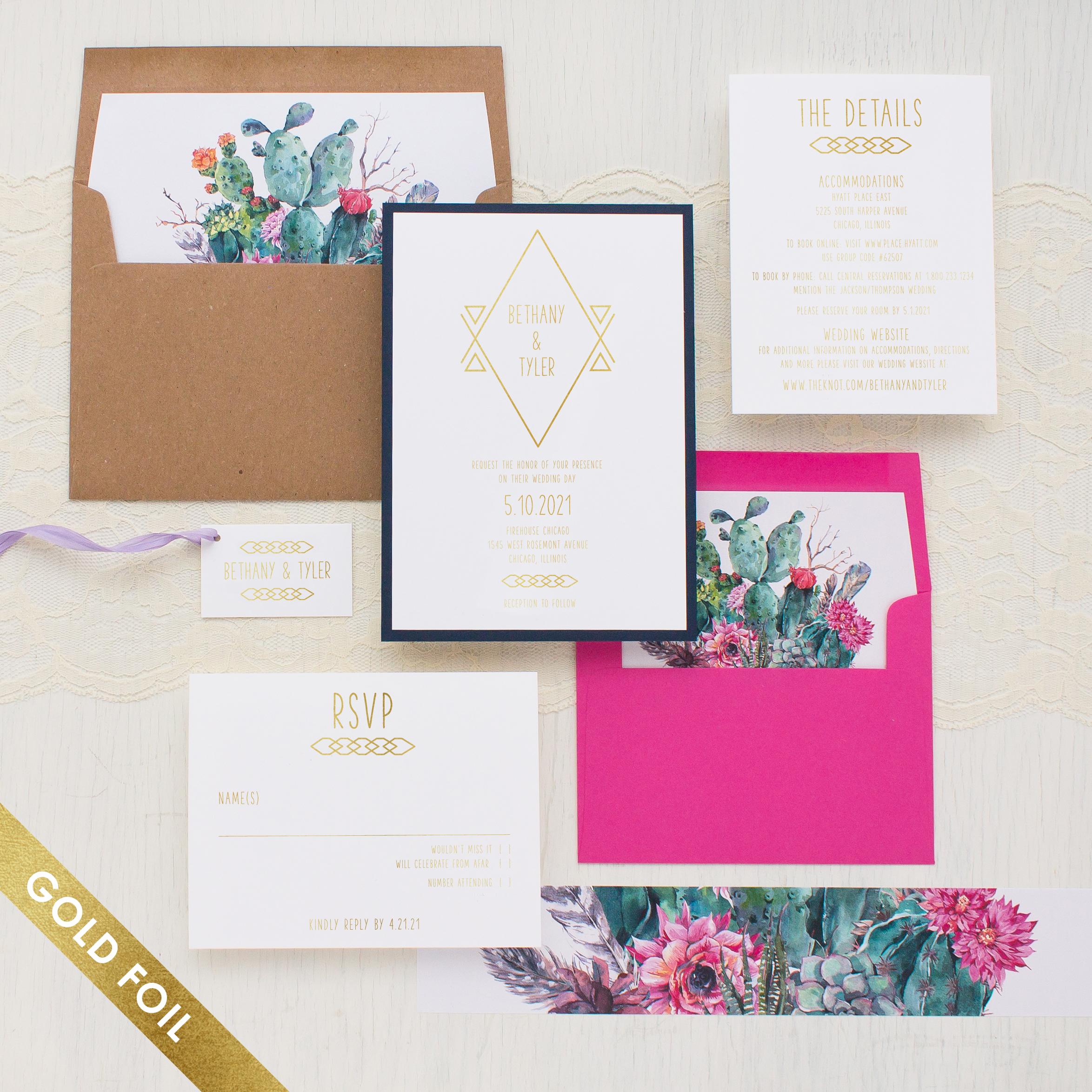 Desert Blooms #2 Gold Foil Wedding Invitations | Beacon Lane
