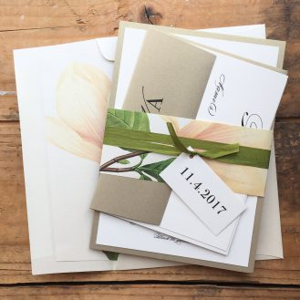 Pink Petals Customized Wedding Invitations by Beacon Lane