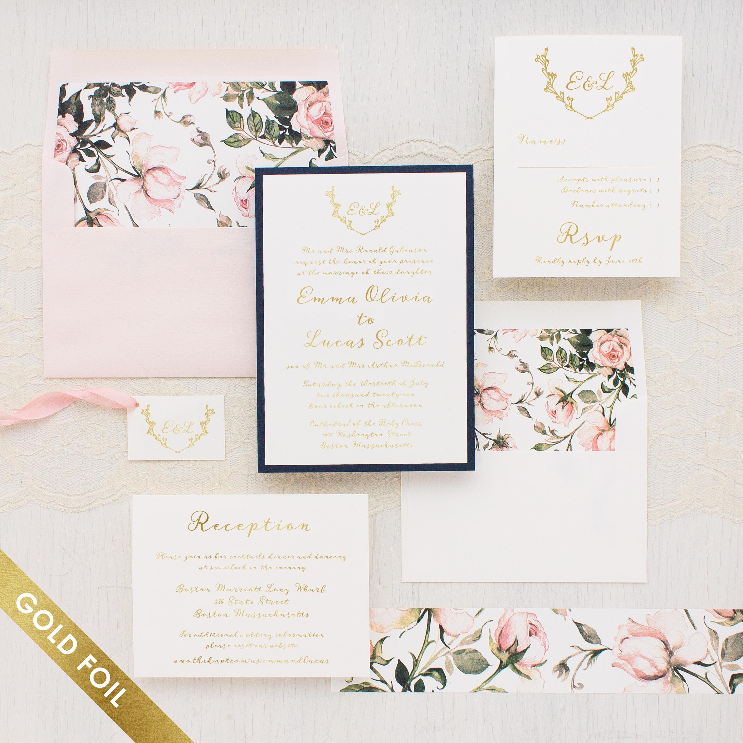 Garden Roses Gold Foil Wedding Invitations