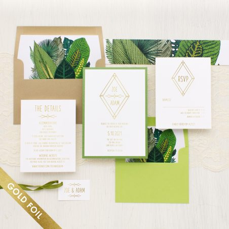 Green Leaf Gold Foil Wedding Invitations
