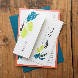 Hops Love Custom Wedding Invitations by Beacon Lane