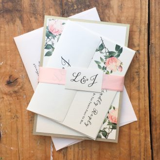 Ivory & Blush Floral Wedding Invitation by Beacon Lane