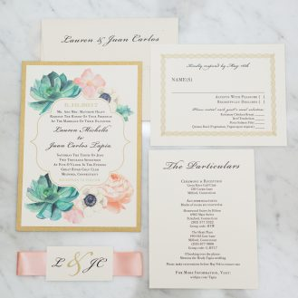 Blush Succulent Wedding Invitation by Beacon Lane