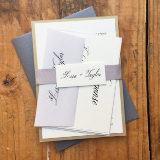 Black Script Wedding Invitation by Beacon Lane