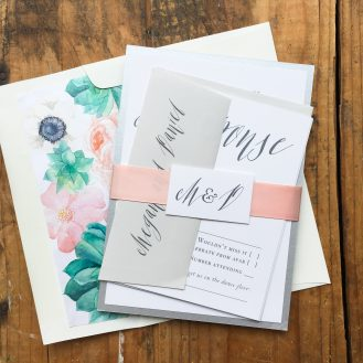 Modern Calligraphy Customized Wedding Invitation by Beacon Lane