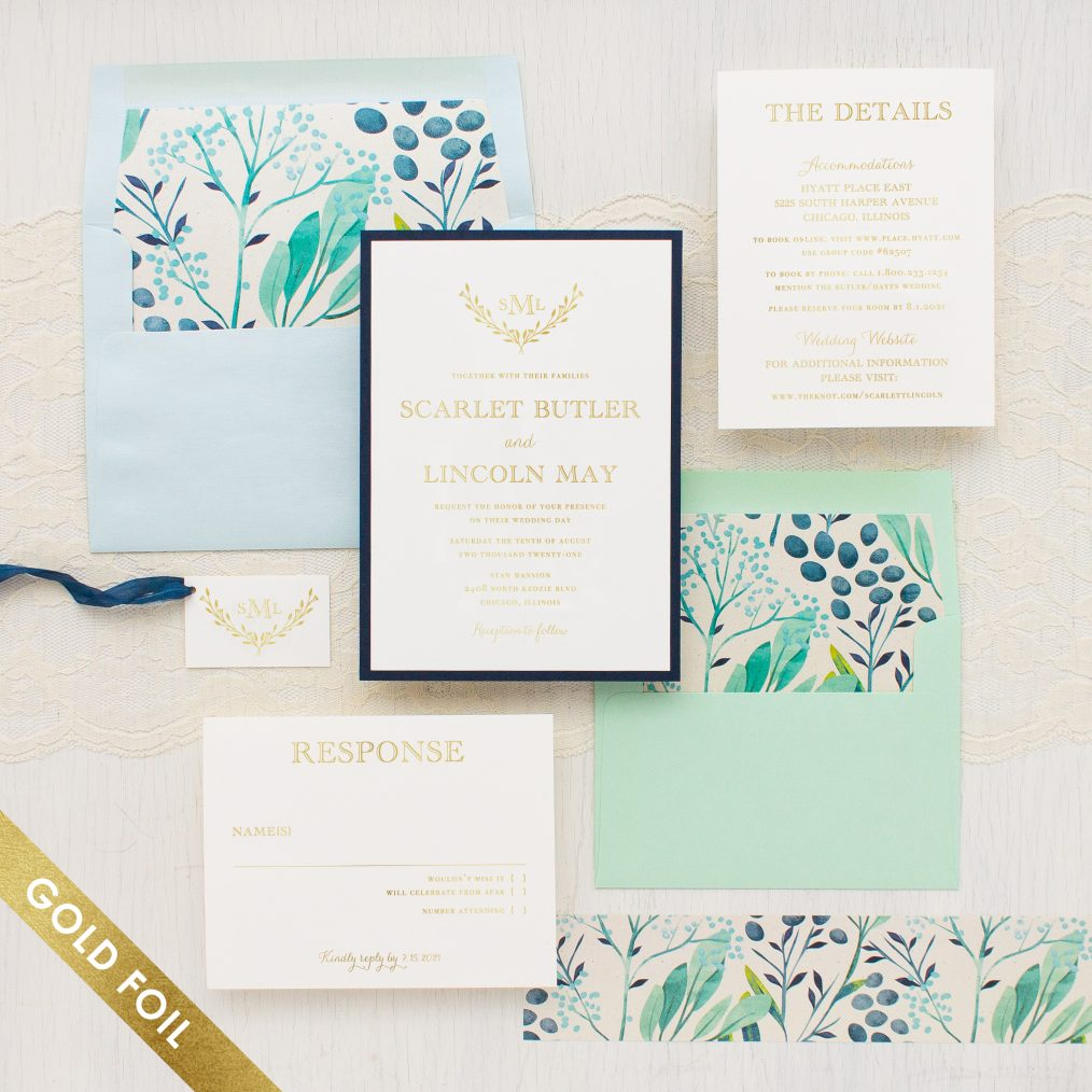Navy Botanicals Gold Foil Wedding Invitations