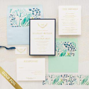 Gold Foil Navy Botanicals Wedding Invitations