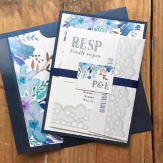 Indigo Blue Custom Wedding Invitations by Beacon Lane