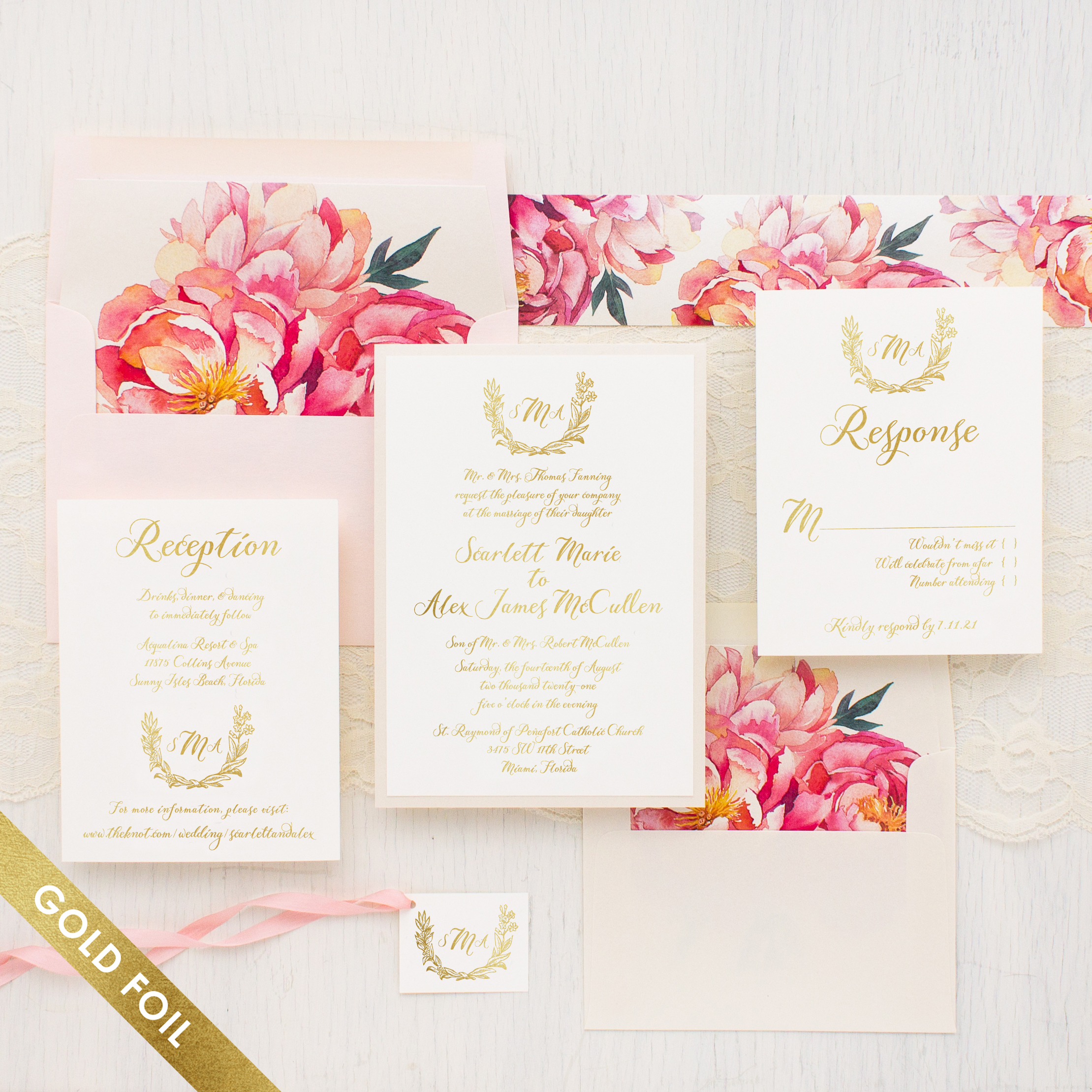 Pink Peonies Gold Foil Wedding Invitations Beacon Lane