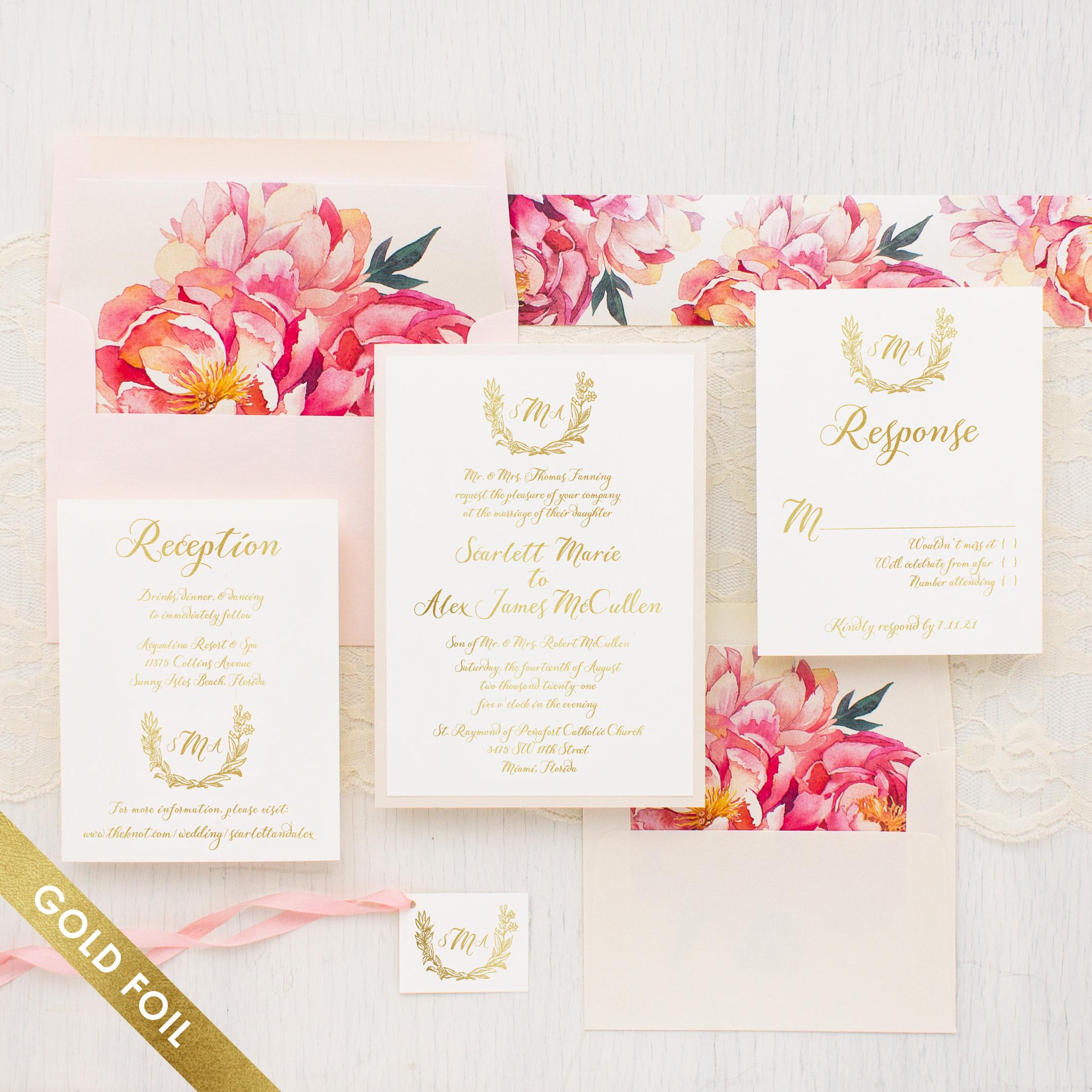Pink Peonies Gold Foil Wedding Invitations