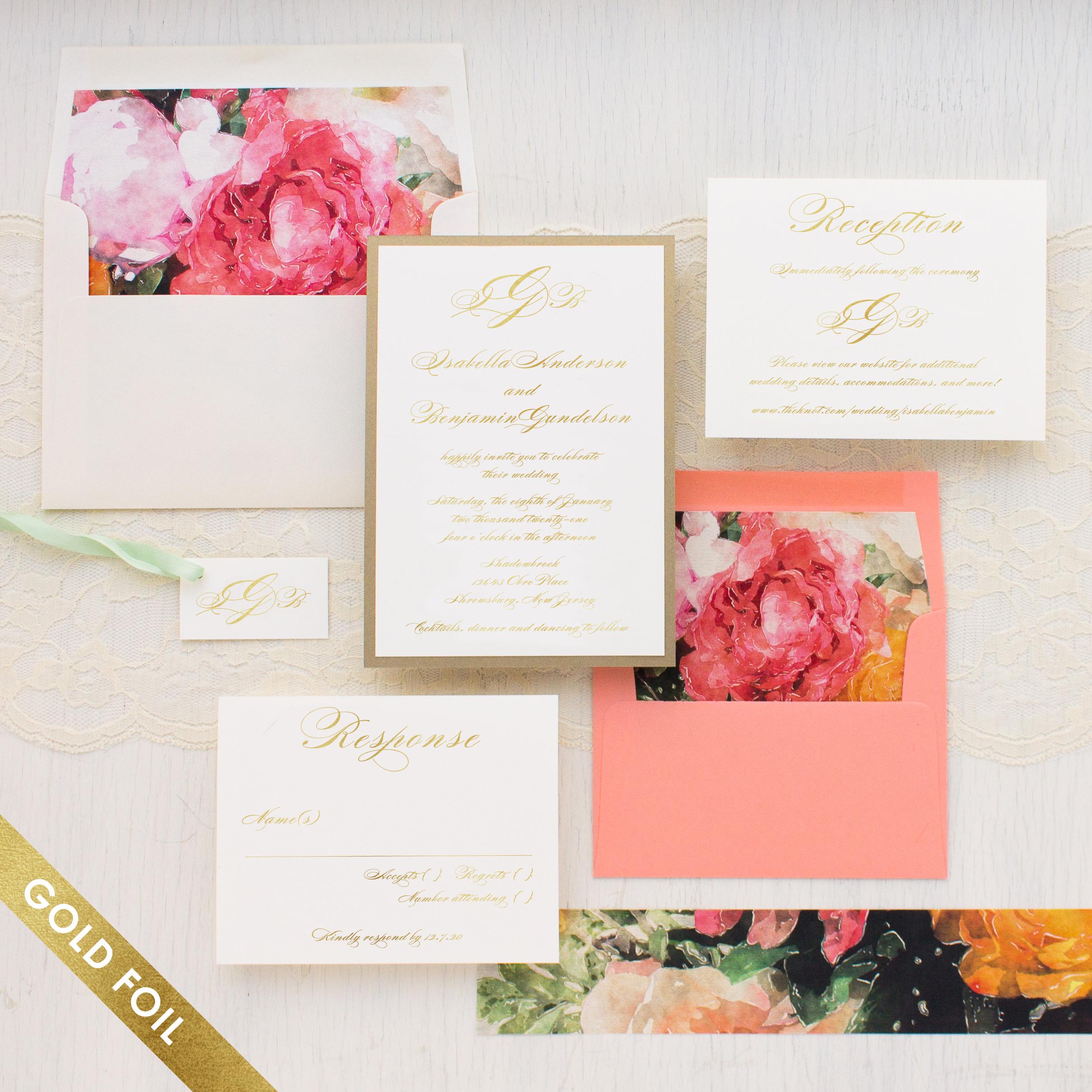 Pink Petals Gold Foil Wedding Invitations   Beacon Lane